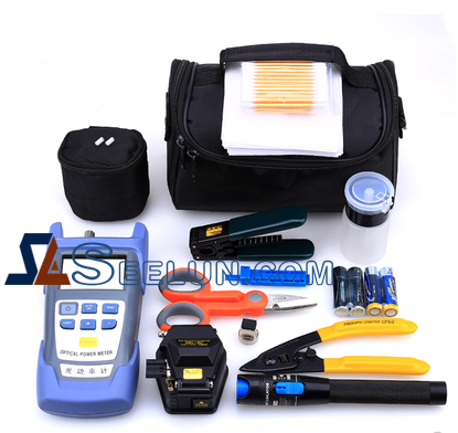 FTTH Fiber Optic Tool Kit Set Equipment with Stripper OPM VFL Cleaver Toolkit for Optic Cable